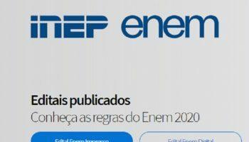 Inep divulga Edital do Enem 2020; edição terá provas impressas e digitais